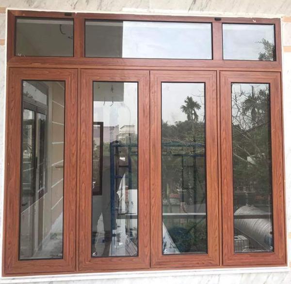 Cửa khung nhôm kính cao cấp Xingfa màu vân gỗ